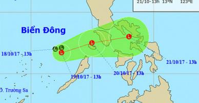 Áp thấp gây mưa giông mạnh ở biển Đông