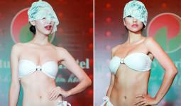 Hà Thu và các người đẹp Miss Earth che mặt diễn bikini