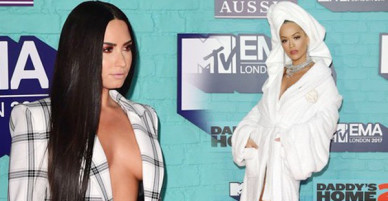 Thảm đỏ EMA 2017: Demi Lovato chỉ mặc mỗi áo vest che vòng 1, áp đảo dàn sao nữ về độ sexy