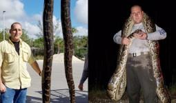 Kinh ngạc con trăn khổng lồ dài 5m bị bắn vào đầu không chết, chiến đấu ngoan cường 25 phút với thợ săn