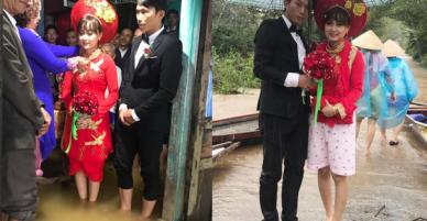 Đám cưới ngày mưa lũ: Cô dâu mặc áo dài với... quần đùi hồng theo chàng về dinh