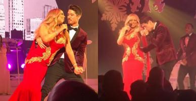 Tranh thủ người yêu diva đang diễn, bồ trẻ của Mariah Carey hành động ngôn tình ngay trên sân khấu