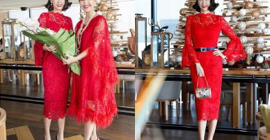 Hà Kiều Anh diện váy đỏ rực mừng sinh nhật Diễm My