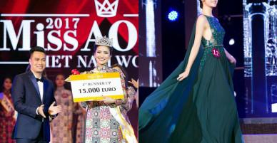 """Đang thi Hoa hậu Hoàn vũ VN, Bùi Quỳnh Hoa bất ngờ đăng quang """"Miss Áo Dài Việt Nam World"""""""