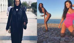 Ba bạn gái và vợ sao Real mặc kín mít tới đền thờ Hồi giáo
