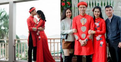 Hot boy Quế Ngọc Hải và vợ mặc màu đỏ trong lễ ăn hỏi