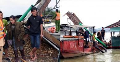 Bắt giữ tàu thuyền khai thác cát trái phép trên sông Lam