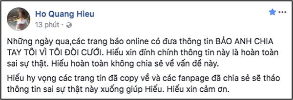 Hồ Quang Hiếu phủ nhận thông tin bị Bảo Anh chia tay vì đòi cưới sớm