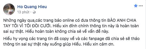 Hồ Quang Hiếu: Thông tin Bảo Anh chia tay vì tôi đòi cưới là hoàn toàn sai sự thật