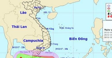 Bản tin bão 12h: Bão Tembin gió giật cấp 13, hướng về phía Cà Mau – Kiên Giang