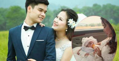 Cô dâu 9X bế con một tháng tuổi lên xe hoa về nhà chồng