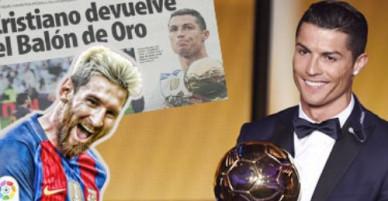 CR7 tự nguyện trả lại Quả bóng vàng cho Messi
