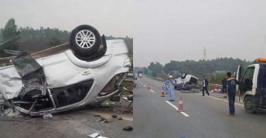 Xe Fortuner chở 6 người lật ngửa trên cao tốc Nội Bài – Lào Cai