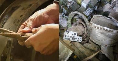 Bên trong kho phế liệu chứa đạn thứ hai ở làng Quan Độ
