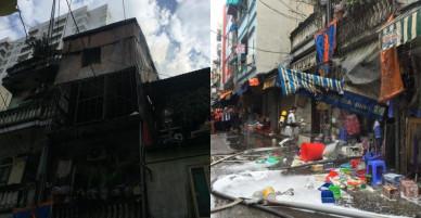 Cháy nhà 3 tầng trên phố ở Hà Nội, 2 người thoát chết