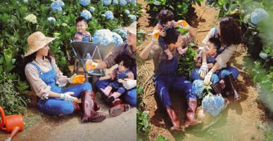 Gia đình Hải Băng – Thành Đạt dạo chơi trong vườn cẩm tú cầu Đà Lạt
