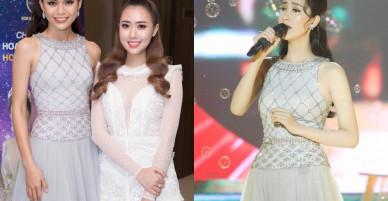 Diện chiếc váy 'đụng hàng' kỷ lục, á hậu Mâu Thủy 'lấn át' cả hoa hậu Đặng Thu Thảo