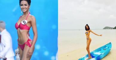 Loạt ảnh bikini nóng bỏng thời để tóc dài của Hoa hậu H'Hen Niê