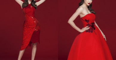 Phạm Hương đỏ rực trong thiết kế của Đỗ Mạnh Cường