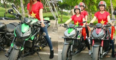 Sốt xình xịch với dàn chân dài và ca sĩ Phi Hùng đi mô tô 'khủng' cổ vũ U23 Việt Nam