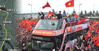 Hành trình 5 tiếng đi 30 km về trung tâm Hà Nội của U23 Việt Nam - VnExpress