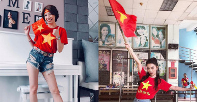Sao Việt rực rỡ với áo quốc kỳ
