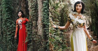 Vũ Thu Phương làm mẫu ảnh với áo dài tự thiết kế