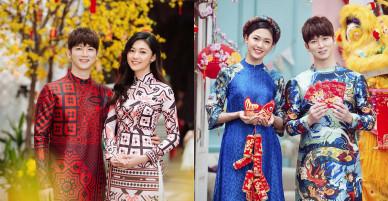 Á hậu Thanh Tú diện áo dài, rạng rỡ sánh đôi bên ca sĩ Hàn Quốc Shin Hyun Woo