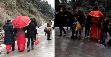 Trung Quốc: Trời lạnh đường đóng băng, nhà gái vẫn kiên cường đưa dắt cô dâu trượt về nhà chồng