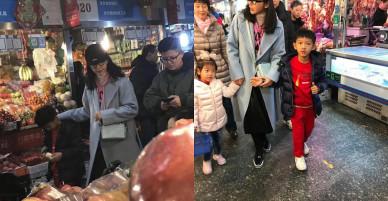 Lý Băng Băng mặt mộc trẻ trung, đi chợ bình dân cùng gia đình