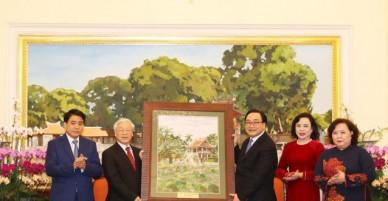 Tổng Bí thư thăm và chúc Tết Đảng bộ, chính quyền và nhân dân Hà Nội