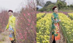 Quang Hà diện áo dài trăm triệu, lạc bước giữa vườn hoa xuân