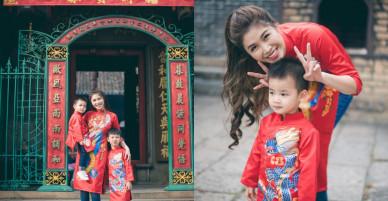 Vợ chồng Đăng Khôi – Thủy Anh mặc áo dài, rạng rỡ đưa hai con đi lễ chùa đầu năm