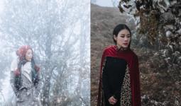 Bà xã Việt Hoàn chụp ảnh dưới trời lạnh -1 độ C