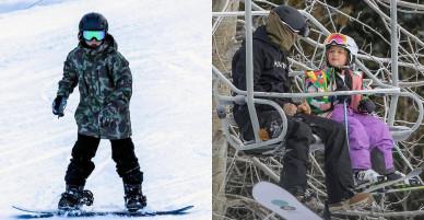 Harper mặc đồ rực rỡ đi trượt tuyết cùng bố và các anh
