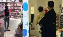 Vợ chồng Angelababy, Huỳnh Hiểu Minh bế con trai đi mua đồ chơi