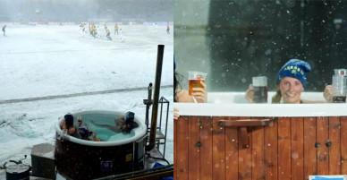 Ba fan nữ cởi đồ, tắm bồn trên sân bóng bất chấp mưa tuyết