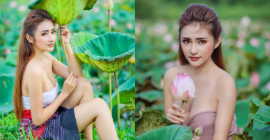 2 mỹ nữ khoe siêu vòng một giữa cánh đồng hoa sen