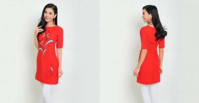 Áo dài cách tân thời trang Eden vẽ tay (Đỏ) – AD007