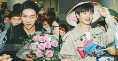 Ngộ Không Lee Seung Gi tươi rói nhận hoa, Yook Sung Jae điển trai giữa đám đông fan phấn khích tại sân bay Nội Bài