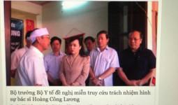 Bộ Y tế chưa có ý kiến gì liên quan đến quyết định truy tố bác sĩ Hoàng Công Lương