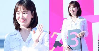 Song Hye Kyo dồn dập trở lại Kbiz: Đẹp rạng rỡ với gương mặt bầu bĩnh, khoe đôi chân trắng nõn tại sự kiện