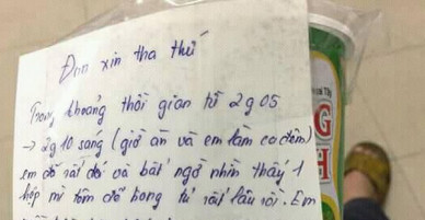 Thanh niên trẻ viết đơn xin tha thứ vì lỡ ăn mất hộp mỳ của đồng nghiệp