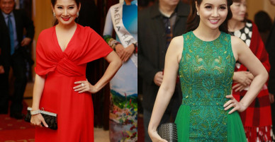 Nhã Phương diện váy xẻ cao đến hông trên thảm đỏ giải Cánh Diều 2017