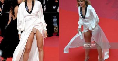 Siêu mẫu hở cả nội y trên thảm đỏ LHP Cannes, người khác thì tự tin khoe vòng eo ngấn mỡ
