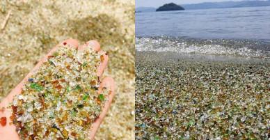 Vẻ đẹp kỳ lạ của bãi biển thủy tinh Nhật Bản