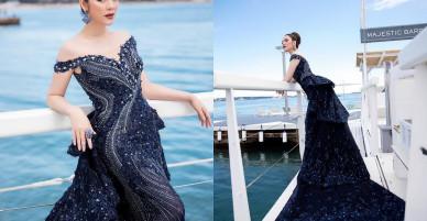 Lý Nhã Kỳ gợi cảm, quý phái và sang trọng với váy xanh khoe vai trần nõn nà
