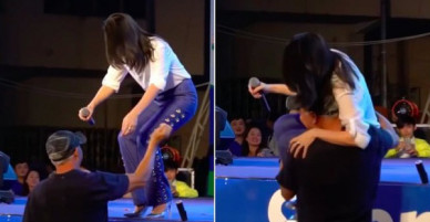 Clip đáng yêu: Mỹ Tâm nũng nịu, gọi diễn viên Văn Tùng là bố và đòi bế xuống sân khấu