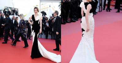 Lý Nhã Kỳ diện đầm cổ điển xẻ ngực sâu 'làm chủ' thảm đỏ Cannes ngày cuối