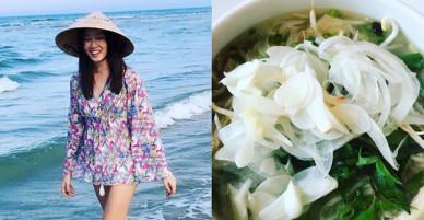 Hoa hậu Hồng Kông 1997 khoe món phở gà, đội nón lá dạo biển Đà Nẵng